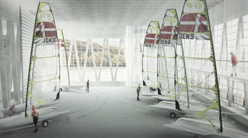 Den store bådhal har plads til, at en olympisk 49er kan stå med fuld mastehøjde