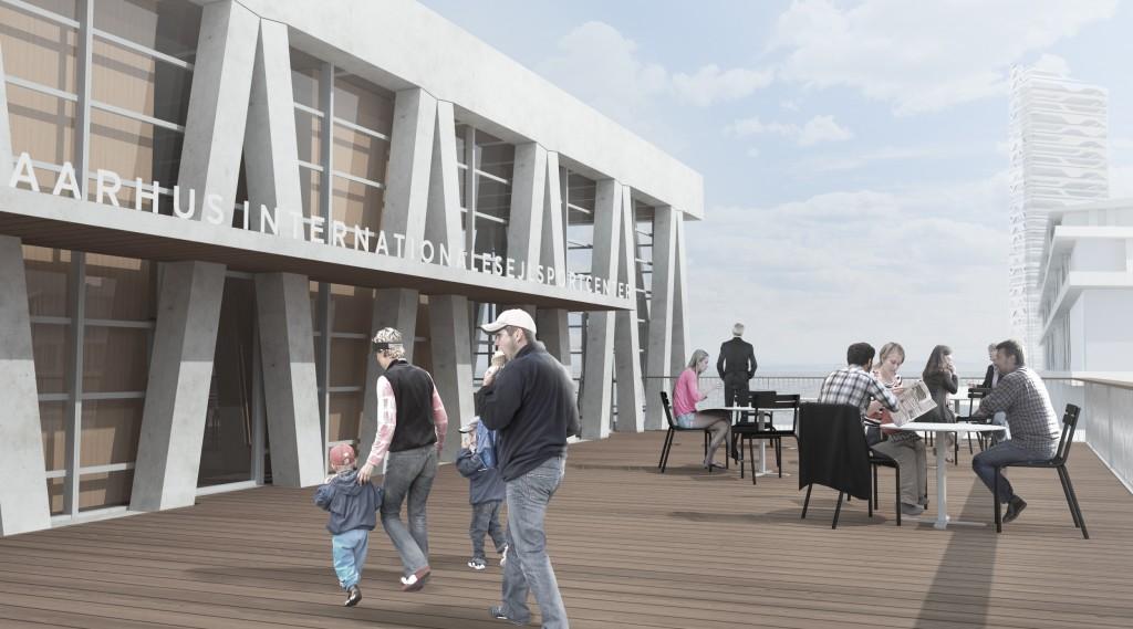 Den sydlige terasse med fri adgang til besøgene giver et fantastisk udsigt ind mod Aarhus og kapsejladsbanerne